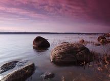 Landschap met rode wolken Royalty-vrije Stock Foto's