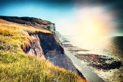 Landschap met rotsachtige kust van Noordzee Normandië, Frankrijk Stock Foto's