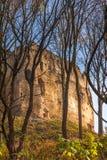 Landschap met ruïne van middeleeuws kasteel Povazsky hrad royalty-vrije stock afbeeldingen