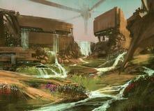 Landschap met sc.i-FI gebouwen, illustratie stock illustratie