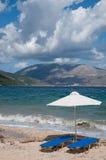 Landschap met strand en parasols Royalty-vrije Stock Afbeelding