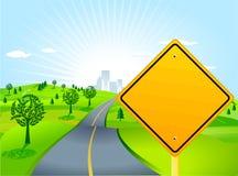 Landschap met verkeersteken Stock Fotografie