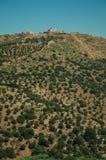 Landschap met vesting van bovenop heuvel en kleine landbouwbedrijven stock fotografie