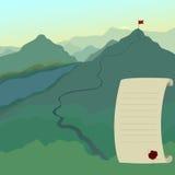 Landschap met vlag op de bergpiek De sleep van de wandeling Zaken Stock Afbeelding