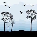 Landschap met vogels Royalty-vrije Stock Afbeelding