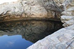 Landschap met water en rotsen in Thassos-eiland, Griekenland, naast de natuurlijke pool genoemd Giola Royalty-vrije Stock Afbeelding