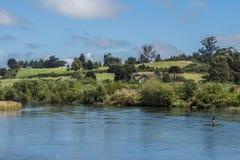 Landschap met weiden en rivier in zuidelijk Chili stock foto
