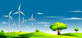 Landschap met windlandbouwbedrijf op groene gebieden onder bomen Het concept van de ecologie Veelhoekige stijl royalty-vrije illustratie