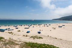 Landschap met zandig strand van Tanger, Marokko, Afrika Royalty-vrije Stock Afbeeldingen