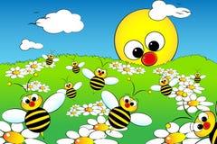 Landschap met zon en bijen - de illustratie van het Jonge geitje Stock Foto