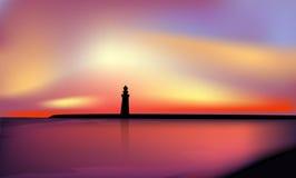 Landschap met zonsondergang, Stock Foto's