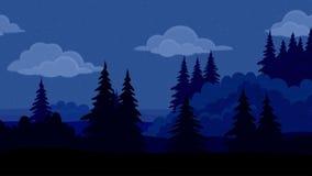 Landschap, nacht bos, naadloze lijn royalty-vrije illustratie