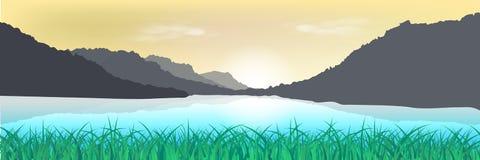 Landschap, natuurlijk grasgebied en de afficheabstra van de bergzonsondergang royalty-vrije illustratie