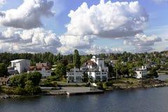Landschap op de archipel van Stockholm Stock Foto's
