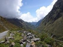 Landschap op de `-Doodsweg `, Berg Biking in Bolivië Royalty-vrije Stock Afbeelding