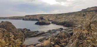 Landschap op Kaap Tarhankut, de Krim Stock Foto