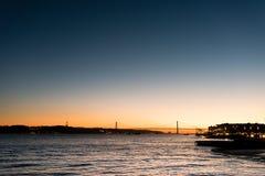 Landschap op zonsondergang van de rivier Tagus en de 25ste april-brug Royalty-vrije Stock Afbeelding