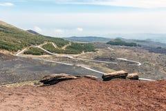 Landschap over Onderstel Etna in Sicilië royalty-vrije stock afbeeldingen
