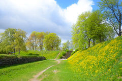 Landschap in park in de vesting van Lappeenranta, Royalty-vrije Stock Foto's