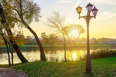 Landschap in Park met Meer en Lampen Royalty-vrije Stock Fotografie