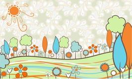 Landschap in retro kleuren Royalty-vrije Stock Foto