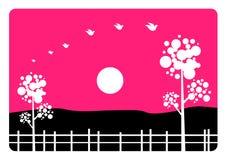 Landschap in roze Stock Afbeelding