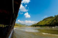 Landschap tijdens Megokng-cruise Laos Stock Foto's