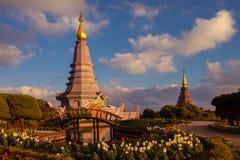 Landschap twee pagode bij het nationale park van doiinthanon, chiang MAI, Thailand, Royalty-vrije Stock Foto