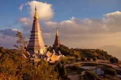 Landschap twee pagode bij het nationale park van doiinthanon, chiang MAI, Thailand, Royalty-vrije Stock Foto's