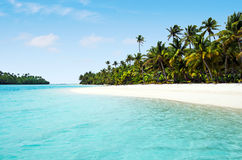 Landschap van Één voet Eiland in Aitutaki-Lagune Cook Islands Stock Afbeelding