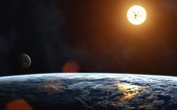 Landschap van Aarde Zon Maan nadruk op: Het Knippen van MercuryWith van het Venus van de aarde Weg De elementen van het beeld wor Stock Foto's