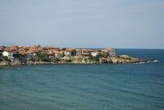 Landschap van baai in Sozopol, Bulgarije. Mening over de Zwarte Zee Stock Fotografie