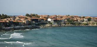 Landschap van baai in Sozopol, Bulgarije. Mening over de Zwarte Zee stock afbeelding