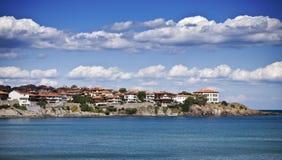 Landschap van baai in Sozopol, Bulgarije. Mening over de Zwarte Zee Royalty-vrije Stock Afbeelding