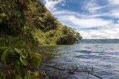 Landschap van Batur-vulkaan en meer Batur stock foto