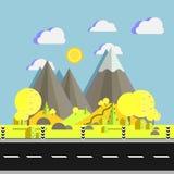 Landschap van bergen met bomen op heuvels dichtbij weg in vlakke vectorillustratie Natuurlijke plaats voor het kamperen en wandel Royalty-vrije Stock Foto's