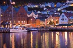 Landschap van Bryggen in Bergen, Noorwegen Stock Foto