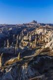 Landschap van Cappadocia, Turkije met Feeschoorstenen in Morni royalty-vrije stock fotografie