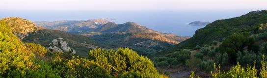 Landschap van de bergen van Zakynthos van Skopos-heuvel, Griekenland Stock Fotografie