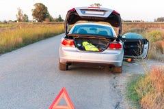 Landschap van de Ebro Delta, de auto op de weg Exemplaarruimte voor tekst Stock Foto's
