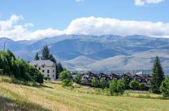 Landschap van de het gebied en bergen van de Pyreneeën Stock Foto's