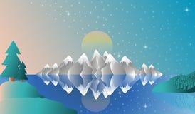 Landschap van de het schermwinter van alpen het volledige stock illustratie