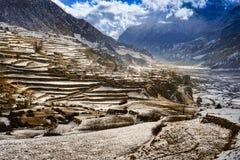 Landschap van de Himalayan-bergen, Nepal, Stock Foto