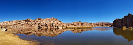 Landschap van de Laguna Negra Zwarte Lagune, Altiplano, Bolivië stock afbeelding