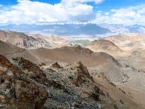Landschap van de manier van Leh aan Pangong-Meer, Ladakh, India Royalty-vrije Stock Foto