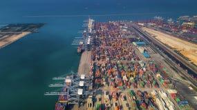 Landschap van de mening van het vogeloog voor de logistische haven van Laem chabang Royalty-vrije Stock Fotografie
