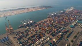 Landschap van de mening van het vogeloog voor de logistische haven van Laem chabang Stock Afbeeldingen