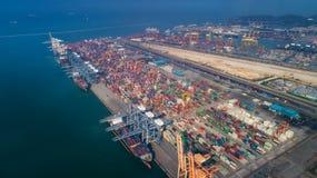 Landschap van de mening van het vogeloog voor de logistische haven van Laem chabang Royalty-vrije Stock Afbeelding