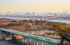 Landschap van de stad van Seoel Stock Afbeeldingen