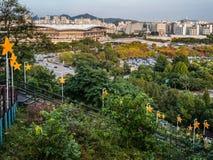 Landschap van de stad van Seoel stock foto
